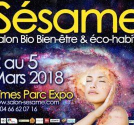 Affiche salon sésame 2019 à Nîmes Renato Pappalardo Elsa Decourt Espace Exprérience ZEN massage et thérapie énergétique